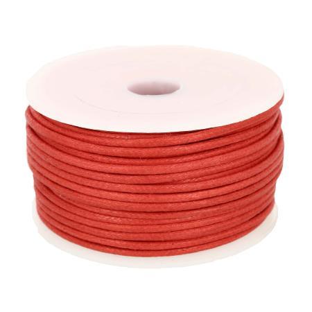 Bobine 25 m lacet coton tressé ciré 2 mm - ROUGE