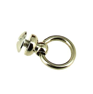 Bouton de col avec anneau pour attache lanière - NICKELE - 10 mm