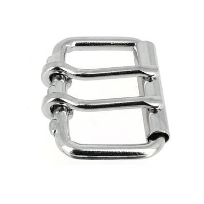 Boucle de ceinture à double ardillon et à rouleau - NICKELE - 50 mm