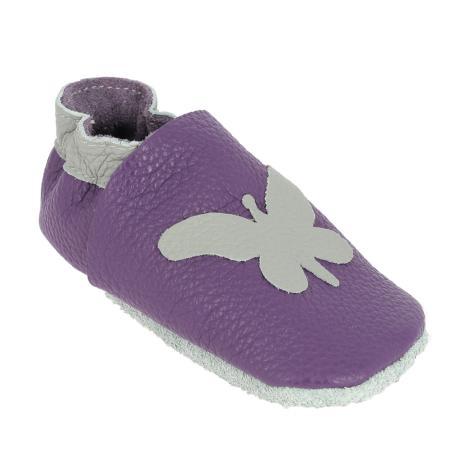 Kit chaussons en cuir pour bébé - Violet / Gris souris / Papillon