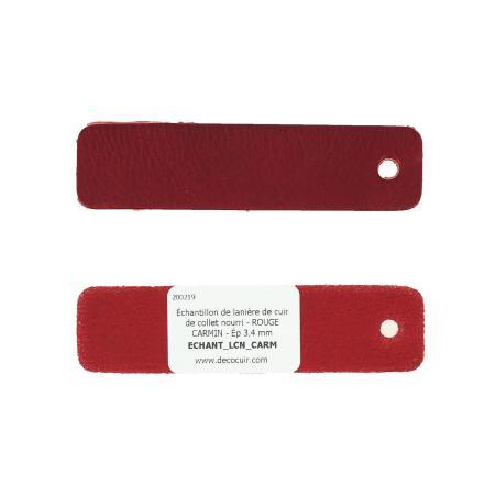 Échantillon de lanière de cuir de collet nourri - ROUGE CARMIN - Ép 3,4 mm