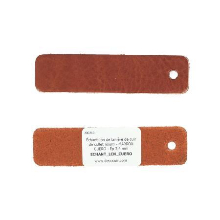 Échantillon de lanière de cuir de collet nourri - MARRON CUERO - Ép 3,4 mm