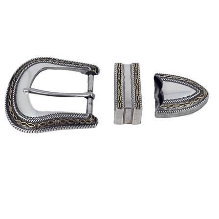 Boucle de ceinture mexicaine JUAN - NICKELE et LAITON VIEILLI - 35 mm