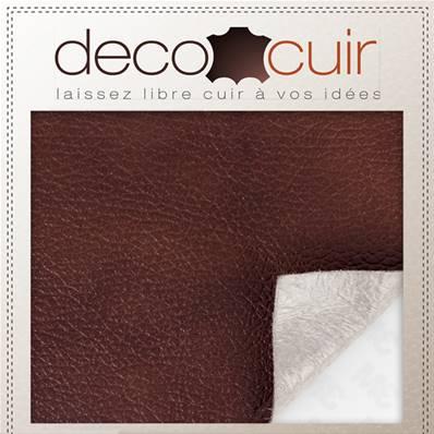 Morceau de cuir d'ameublement AUTOCOLLANT - MARRON marbré - 14,5x19,5 cm - Ep 0,5 mm
