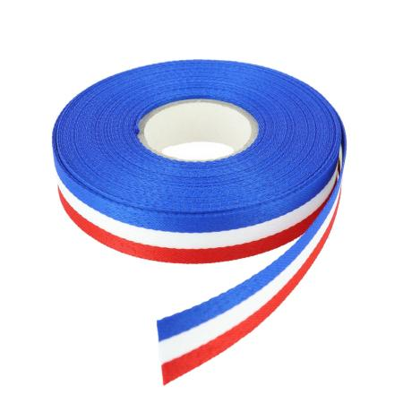Ruban polyester tricolore Français - Largeur 15 mm