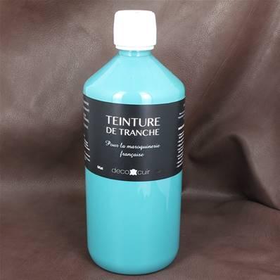 Finition de tranche BLEU TURQUOISE MAT pour cuir - Deco Cuir - 1 litre