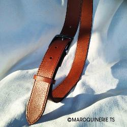 Lanière de cuir de collet nourri - MARRON CUERO - Larg 34 mm - Long 120 cm