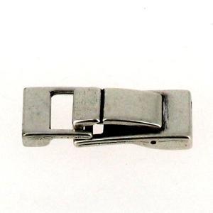 Fermoir bijou - Fermeture clip - Argent vieilli - Lanière 13 mm