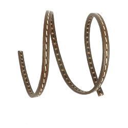 50 cm de lacet en cuir plat 5 mm PREMIUM - Chocolat, couture écru, tranches chocolat