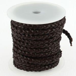 Lacet en cuir plat tressé - largeur 4 mm - CHOCOLAT