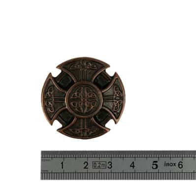 Concho CROIX RONDE - 35 mm - Vieux cuivre