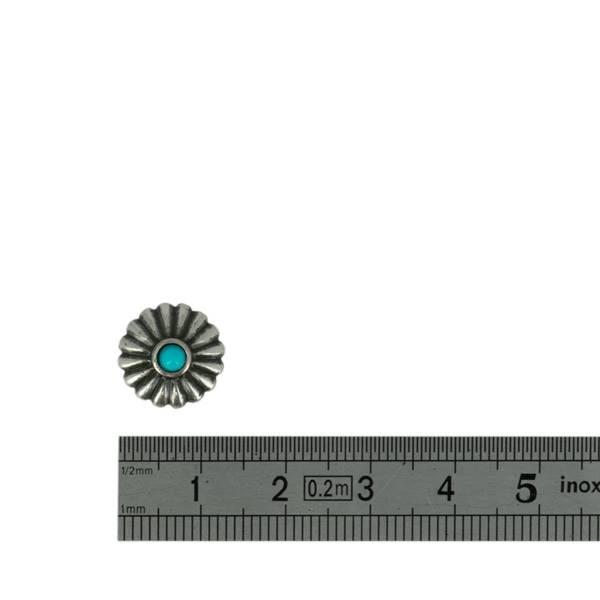 Concho à visser FLEUR ronde avec turquoise - 12mm - ARGENT VIEILLI