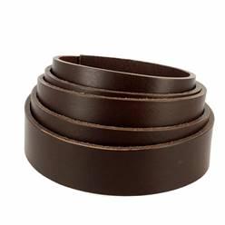 Lanière de cuir de collet nourri - MARRON CAFÉ - Larg 29 mm - Long 120 cm
