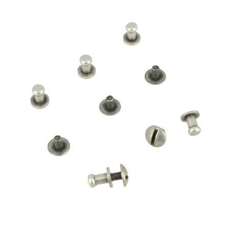 Lot de 5 boutons de col à vis T3 - Argent vieilli avec vis 3x5mm
