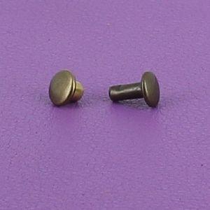 Lot de 20 petits rivets DOUBLE CALOTTE en laiton (T2) finition Laiton vieilli
