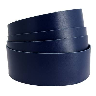 Sangle BLEU - Veau lisse type BOX - Largeur 28 mm