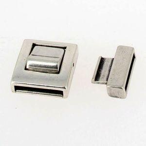 Fermoir pour bracelet - Bouton poussoir - Argent vieilli - Lanière 20 mm