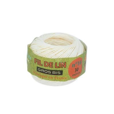 "Bobine de fil de lin ""GROS BIS"" - ECRU - n° 16 - diam 0,80 mm- 30 mètres"