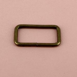 Passant rectangulaire - LAITON VIEILLI - 45 x 20 mm - Fil 2,8 mm