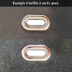 Oeillet ovale à sertir - NICKELE - 20x6,5 mm