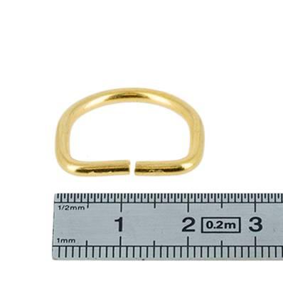 Anneau demi rond - acier DORÉ - 16x14x2,4 mm