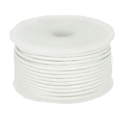 Bobine 25 m lacet coton tressé ciré 2 mm - BLANC