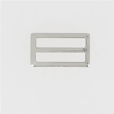 Passant double rectangulaire et plat - Nickelé - 25 mm