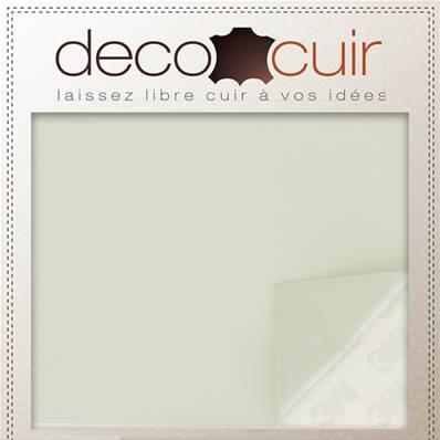Morceau de cuir lisse AUTOCOLLANT - BLANC #2 satiné - 19,5x29,5 cm - Ep 0,5 mm