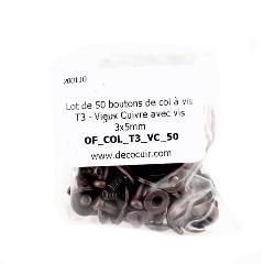 Lot de 50 boutons de col à vis T3 - Vieux Cuivre avec vis 3x5mm