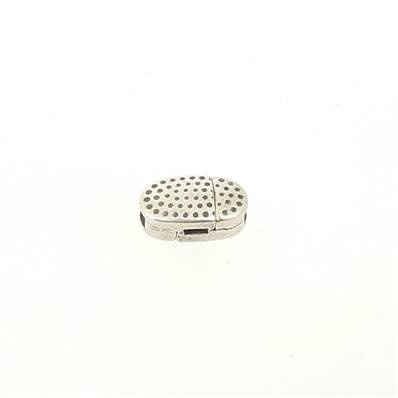 Fermoir pour bracelet - Ovale aimanté avec picot - Argent vieilli - Lanière 5 mm