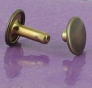 Lot de 20 gros rivets DOUBLE CALOTTE en laiton (T6) finition Laiton vieilli