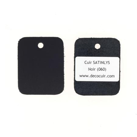 Échantillon de cuir de veau SATINLYS - NOIR