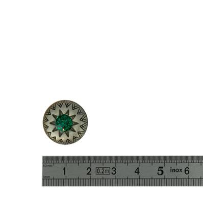 Concho STRASS ETOILE VERT - 18 mm - Argent vieilli