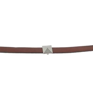 Coulissant CLOU PYRAMIDE - Lanière de 10 mm - ARGENT VIEILLI