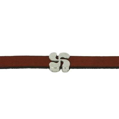 Coulissant CROIX BASQUE - Lanière de 10 mm - ARGENT VIEILLI