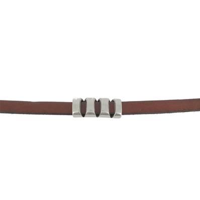 Coulissant TROIS FENTES - Lanière de 10 mm - ARGENT VIEILLI