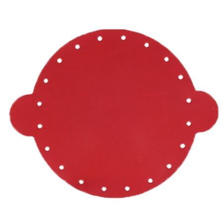 Cuir déja coupé pour faire une bourse en cuir ROUGE - Diamètre 25 cm