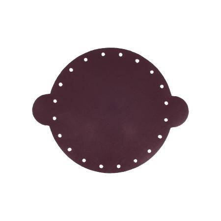 Cuir déja coupé pour faire une bourse en cuir PRUNE - Diamètre 14,5 cm