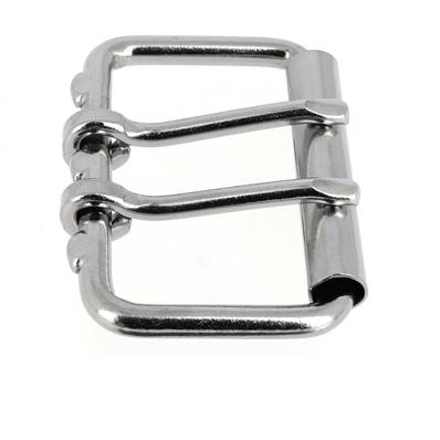 Boucle de ceinture à double ardillon et à rouleau - NICKELE - 60 mm
