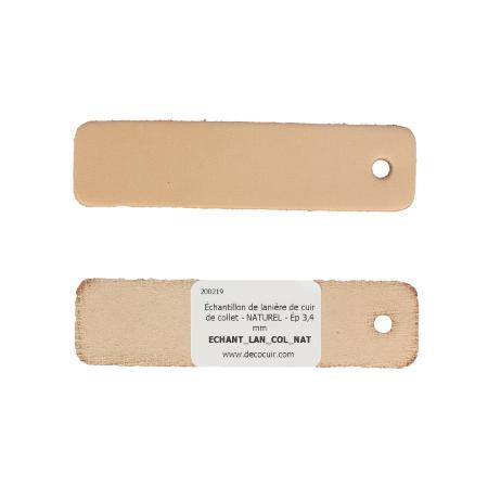 Échantillon de lanière de cuir de collet - NATUREL - Ép 3,4 mm