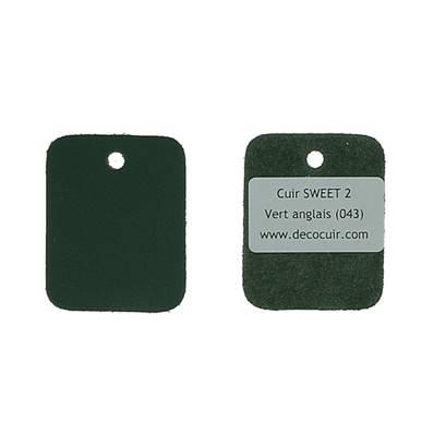 Un échantillon de cuir de vachette SWEET 2 - VERT ANGLAIS