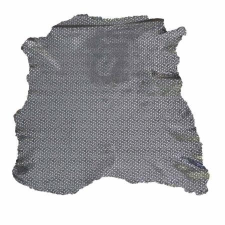 Peau de cuir de chèvre velours - GRIS C67 - Petits coeurs argentés - 2' choix