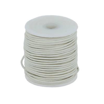 Lacet en cuir rond - diam 1,5 mm - BLANC