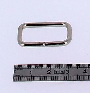 Passant rectangulaire - NICKELE - 25x14 mm - Fil 3 mm
