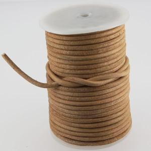 Lacet en cuir rond - diam 4 mm - NATUREL