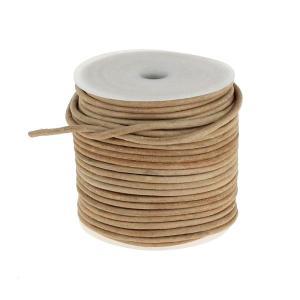 Lacet en cuir rond - diam 2,5 mm - NATUREL