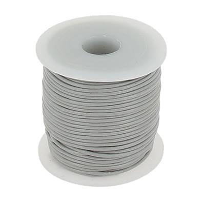 Lacet en cuir rond - diam 1 mm - GRIS CLAIR
