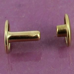 Lot de 20 gros rivets DOUBLE CALOTTE en laiton (T6) finition Laiton