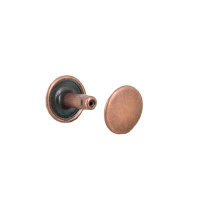 Lot de 100 rivets moyen DOUBLE CALOTTE en laiton (T4) finition Vieux cuivre
