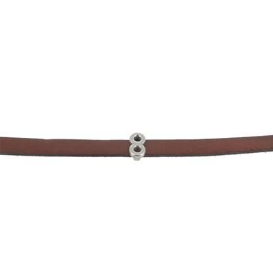 Coulissant DEUX RONDS - Lanière de 10 mm - ARGENT VIEILLI